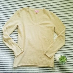 Lilly Pulitzer Cashmere Tan Gold Sweater Size S